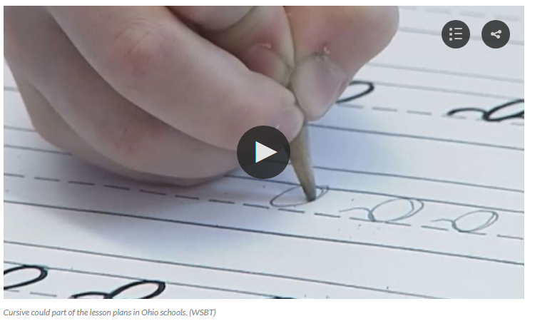 Ohio House passes bill requiring students to learn cursive by end of 5th grade   WTTE